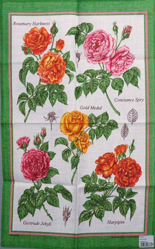画像1: Ulster Weavers アルスターウィーバーズ ティータオル:ブリーダーズローズ 緑 (1)
