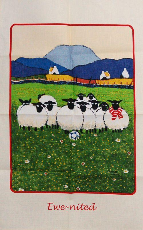 画像1: Ulster Weavers アルスターウィーバーズ ティータオル:EWE-NITED フットボール (1)