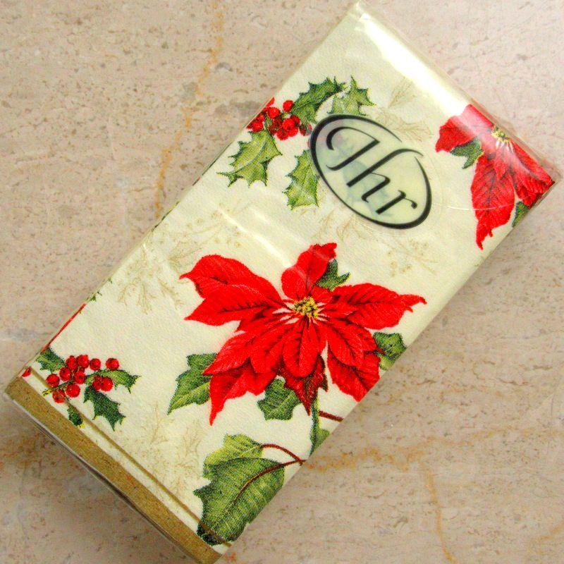 画像1: IHR ポケットティッシュ 10枚入:フローラルクリスマス クリーム 【ネコポス配送可】 (1)