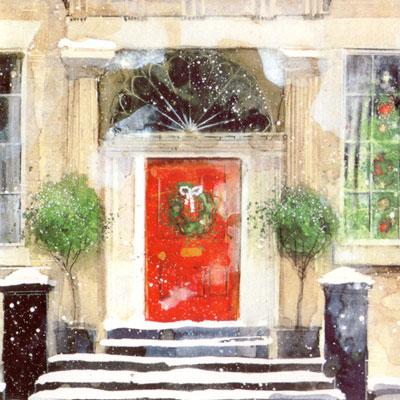 画像1: クリスマスカード:Festive Door By Susan Brown【ネコポス配送可】 (1)